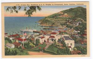 Avalon Bay Panorama Santa Catalina Island California linen postcard
