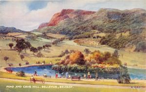 BELFAST IRELAND BELLEVUE~POND-CAVE HILL~WATER COLOUR~E W TRICK ARTIST POSTCARD