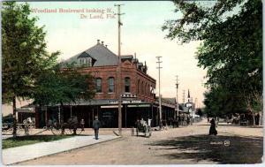 De LAND, FL Florida  WOODLAND BLVD Street Scene Allen's Drug & POc1910s Postcard