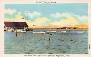 Edgartown Yacht Club & Lighthouse, Edgartown, MA, Linen Postcard, Used in 1951