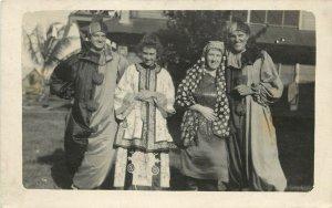 RPPC Postcard People in Bastrop Texas Dressed Up For Halloween Gypsies, Clowns