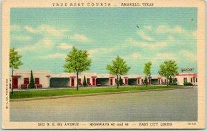 Amarillo, Texas ROUTE 66 Postcard TRUE REST COURTS Highway 66 Roadside - LINEN