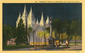 Postcard Mormon Temple Illuminated, Salt Lake City, UT