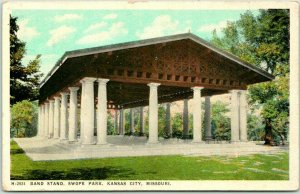 Kansas City, Missouri Postcard Band Stand, Swope Park FRED HARVEY H-2931 1920s