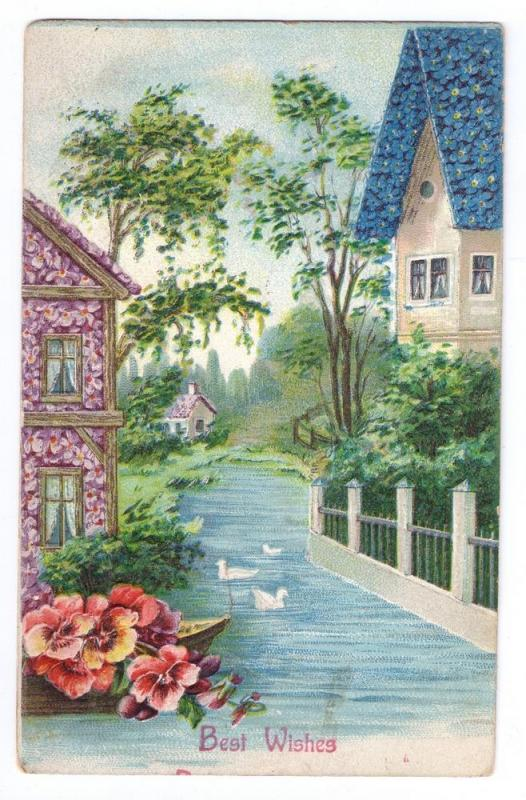 Best Wishes Embossed Flower Roofed Cottages Pansies 1910