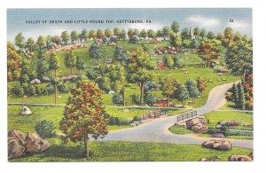 PA Gettysburg Civil War Little Roundtop Valley of Death Vtg Buohl Linen Postcard