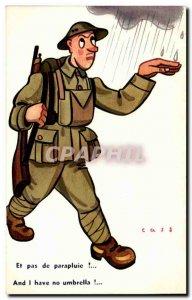 Old Postcard Illustrator Cass And no umbrella (militaria soldier)