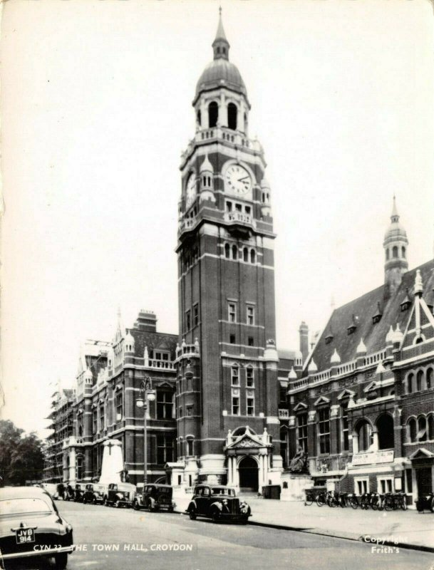 Vintage Real Photo Postcard, 1952 Town Hall Croydon, Surrey, London 52Z