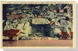 Asheville, NC Postcard, Grove Park Inn Fireplace Near Mint!