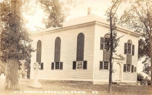 Brooklyn Connecticut~Old Church & Cemetery~Gravestone~Windham County~c1920 RPPC
