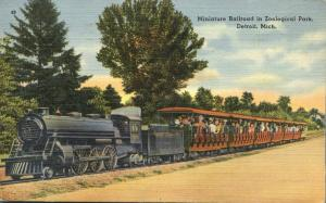 Miniature Railroad at Zoo - Detroit MI, Michigan - pm 1940 - Linen