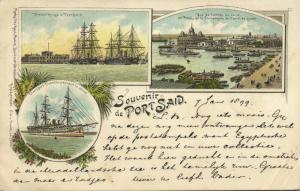 egypt, PORT SAID, Multiview, Harbour Scene, Sailing Boats (1899)