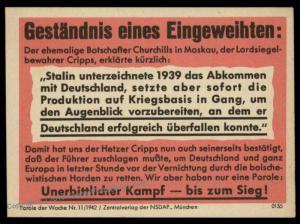 3rd Reich Germany Goebbels Parole der Woche Propaganda Plakat Sheetlet 87729