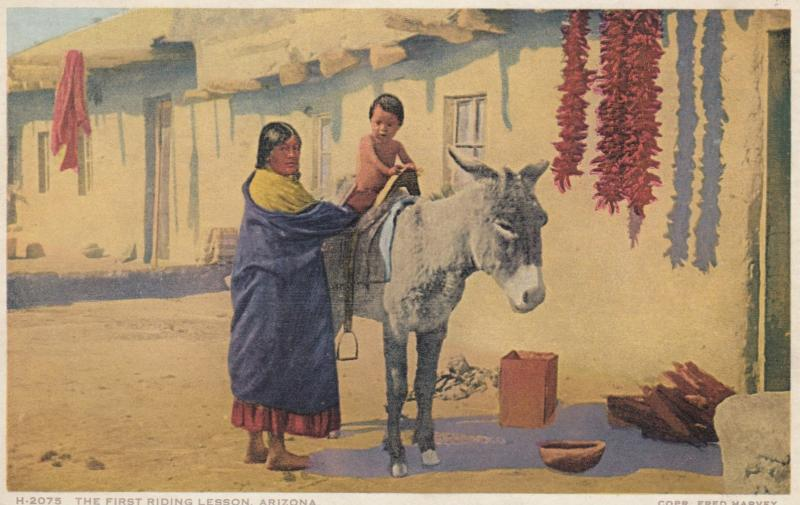 Indian Woman & Child The First Riding Lesson, Arizona , 1910s ; Fred Harvey...