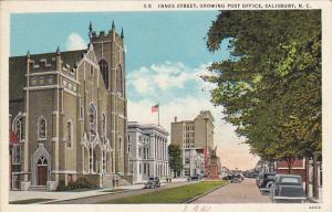 North Carolina Salisbury Innes Street Showing Post Office Curteich