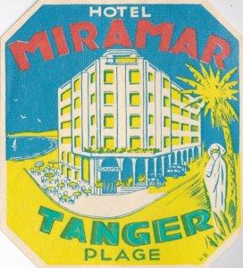 Morocco Tanger Hotel Miramar Vintage Luggage Label lbl0443