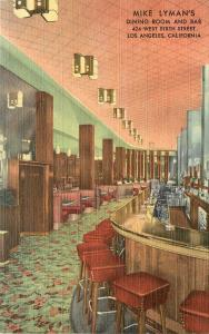 Linen Postcard Mike Lyman's Restaurant & Bar W. 6th St Los Angeles Mid-Century