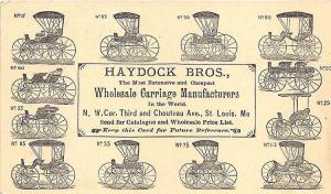 St Louis MO Haydock Bros. Wholesale Carriage Manufacturers Buggies 1877 Postcard
