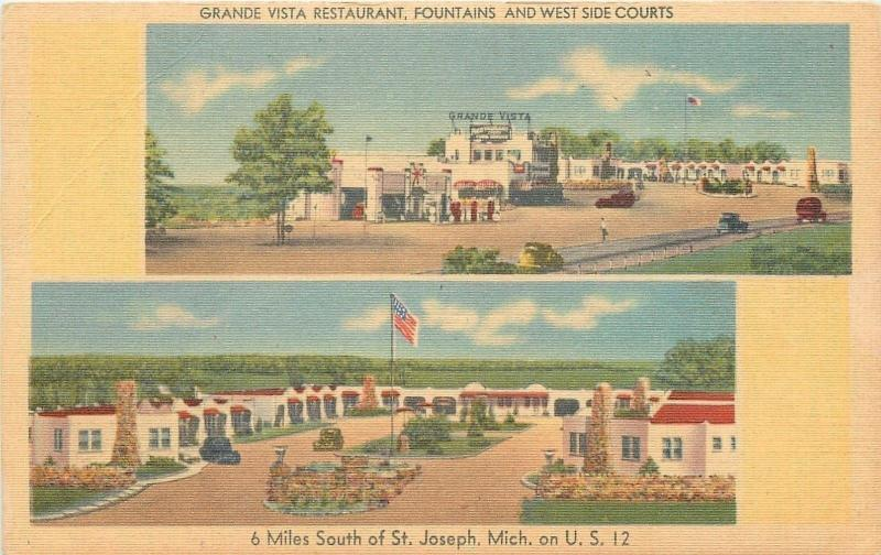 St Joseph Michigan~Grande Vista Restaurant~Gas Pumps~Motel Court~1940s Linen PC