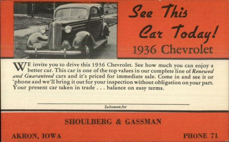 Akron IA Car Dealership Advertising 1936 Chevy Chevrolet Shoulber Gassman PC