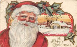 SANTA CLAUS Merry Christmas Holiday Postcard 1918 Muskegon Michigan 691