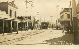 RPPC Postcard Main Street Grass Valley CA Nevada County Trolley Horse-Drawn 403