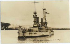 RPPC of Battle Ship Oregon on Her Last Trip, OR