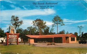Mobile Alabama~The Ranch Restaurant~Cowboy Lasso Sign~1957 Postcard
