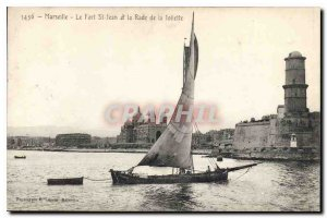 Old Postcard Marseille Fort St John and the Bay of Joliette boat