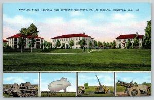Anniston AL Fort McClellan~Barracks, Artillery, Dirigible, Tanks Linen WWII 1945
