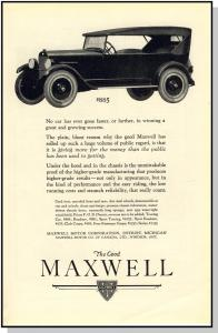 Vintage 1920's Maxwell Car/Auto/Automobile Ad, Only $885!