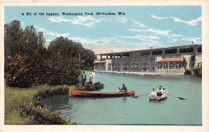 MILWAUKEE WISCONSIN WASHINGTON PARK A BIT OF THE LAGOON W/ CANOE POSTCARD 1930s