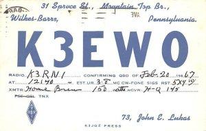 K3EWO Wilkes Barre, PA, USA QSL 1967