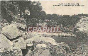 Old Postcard Saint Nazaire Loire Inf A Cote Rocks Beach and Port Gavy