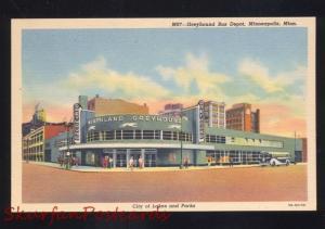 MINNEAPOLIS MINNESOTA GREYHOUND BUS DEPOT STATION VINTAGE LINEN POSTCARD