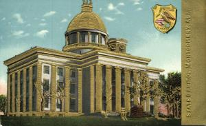 Montgomery, Alabama, State Capitol, Coat of Arms (1910s) Gold Embossed