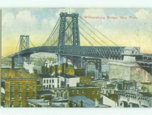 Unused Divided-Back BRIDGE SCENE New York City NY HJ0435