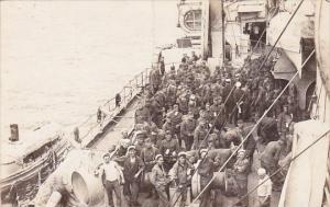 Military Soldiers On Troup Ship Real Photo