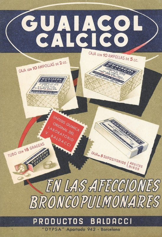 Beautiful 50s Vintage Spanish, Advertising, Maxi-Card, for, Guaiacol Calcico
