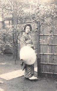 Geisha Umbrella Costume Postcard 1908