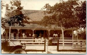 c1910s RPPC Real Photo Postcard Large Family Group on House Porch - California?