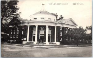 Cochran, Georgia Postcard FIRST METHODIST CHURCH Building Mayrose c1940s Unused