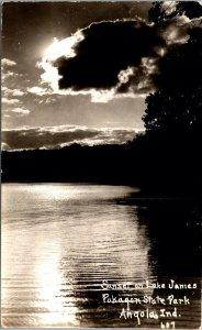 Real Photo Postcard Sunset Lake James Pokagon State Park Angola Indiana~131834