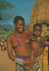 Zulu Mother & Child in the Valley Of A Thousand Hills Natal Africa Postcard