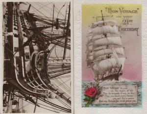 Bon Voyage 21st Birthday Tall Ship Real Photo HMS Victory Postcard