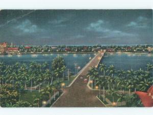 Bent Corner Linen FLAGLER MEMORIAL BRIDGE West Palm Beach Florida FL d4669