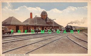 1920 Owatonna MN PC: Union Pacific Railroad Depot, Train, Passengers
