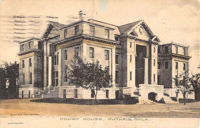Guthrie Oklahoma Court House Street View Antique Postcard K39025