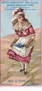 North's Pure Pepsin, Cures Dyspepsia, Girl holding flowers in apron, Chas. H. No