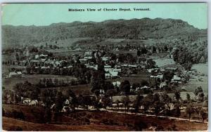 Chester Depot, Vermont Postcard Bird's-Eye Panorama Town View w/ 1913 Cancel